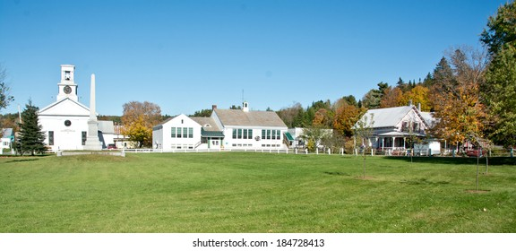 Cabot, VT, USA - October 1, 2013: The walkways in front of the Cabot School are empty on this sunny autumn day on Cabot Common.