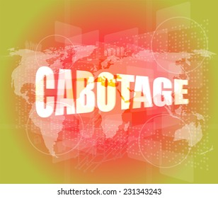 cabotage word on digital touch screen with world map