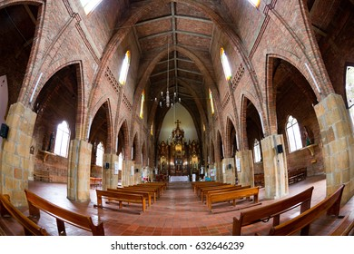 CABRERA, COLOMBIA - MAY 7: The interior of the Cabrera Church in Cabrera, Colombia on May 7, 2016.