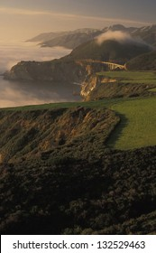 Cabrillo Hwy (Hwy 1) California's scenic central Pacific Coast. In coming fog at Bixby Creek Bridge near Big Sur.