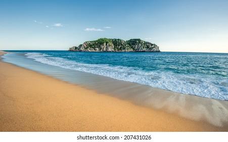Cacaluta beach in Huatulko, Oaxaca, Mexico