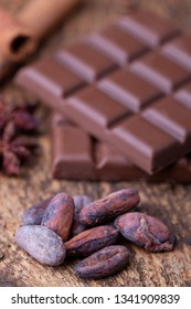 cacao beans and chocolate