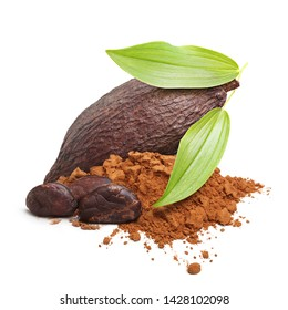 Cacao beans, pod and powder isolated on white background