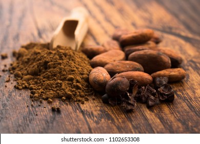 cacao beans and cacao powder in spoon