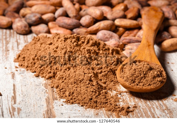cacao beans and cacao powder in spoon over wooden background