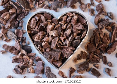 Cacao Nibs in a Heart Shape