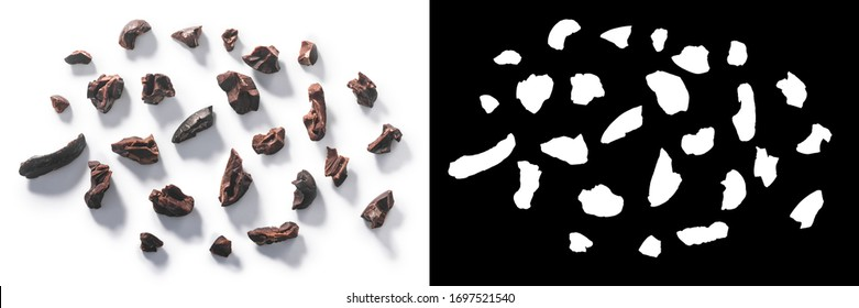 Cacao nibs, a pieces of broken cocoa beans isolated, top view