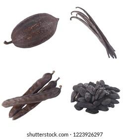 cacao pod, carob,vanilla and tonka beans isolated on white background