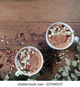 cacao smoothie bowls.  top view
