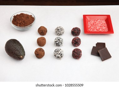 cacao truffles on tabletop with ingredients
