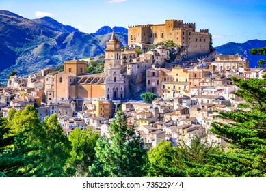 Caccamo, Sicily. Medieval italian city with the Norman Castle in Sicily mountains, Italy.