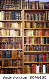 Caceres, Spain - June 10, 2013: Bookshelves inside a bookstore, antique books, library