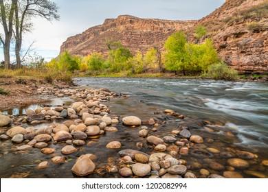 Cache la Poudre River and Belvue Dome near Fort Collins, Colorado