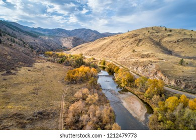 Cache la Poudre River at a canyon mouth , COlorado - aerial view with fall scenery