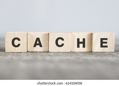 CACHE word made with building blocks