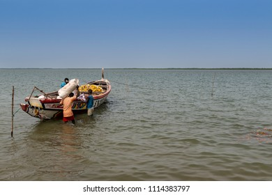 Cacheu, Republic of Guinea-Bissau - February 1, 2018: Fishermen preparing their canoe in the port of the city of Cacheu, in Guinea Bissau.
