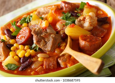 Cachupa is a famous dish from the Cape Verde islands, West Africa. This slow cooked stew of corn, beans, cassava, sweet potato, meat