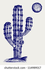 Cactus in desert. Doodle style. Raster version