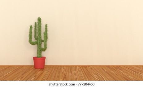 Cactus in an empty room, 3D illustration