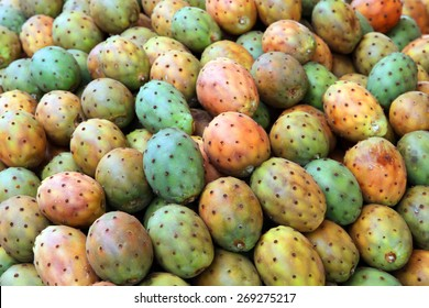 Cactus fruits ( called also as Opuntia ficus-indica, Indian fig opuntia, Barbary fig, prickly pear ) on Mediterranean  market