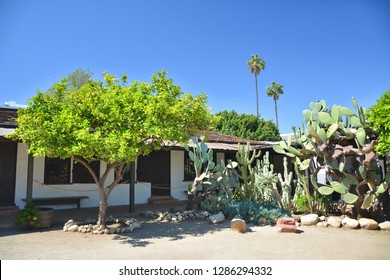 Cactus and lemon tree in Avila Adobe garden in Los Angeles Pueblo by Olvera street.