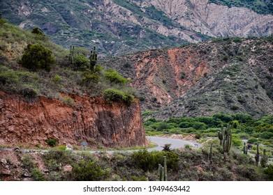 cactus and mountains in cachi, salta, argentina