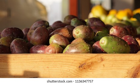 Cactus Pears in farmers market stall