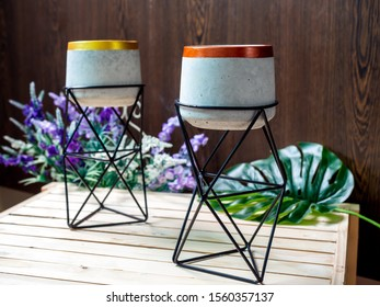 Cactus pot. Concrete pot with iron stand. Empty modern standing planter with flower and palm leaf on wooden table on wooden background.