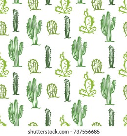 Cactus seamless pattern Color background