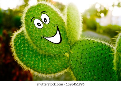 Cactus waving hello and smiling, cheerful cactus. Drugs, personal care, cactus masks.