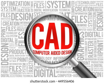 CAD - Computer Aided Design word cloud with magnifying glass, business concept 3D illustration