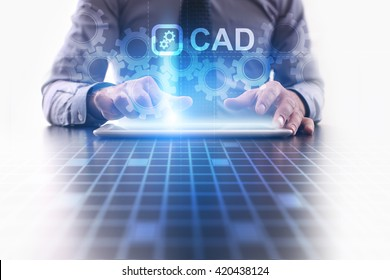 CAD concept. Businessman using futuristic tablet computer, pressing button on the touch screen and selecting icon with CAD text.