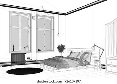 Cad Bedroom Draft Planning Interior Design Stock Illustration