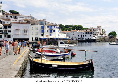 CADAQUES, SPAIN - SEPTEMBER 6, 2018: On the edge of Mediterranean Sea in Cadaques small Spanish village of Catalonia