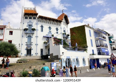 CADAQUES, SPAIN - SEPTEMBER 6, 2018: Architecture of a hotel by the sea in Cadaques Spanish village of Catalonia