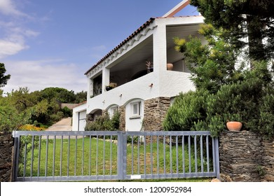CADAQUES, SPAIN - SEPTEMBER 6, 2018: A house of Cadaques with Spanish architecture of Catalonia region