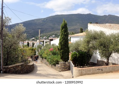 CADAQUES, SPAIN - SEPTEMBER 6, 2018: A small street of the village of Cadaques in the region of Catalonia in Spain