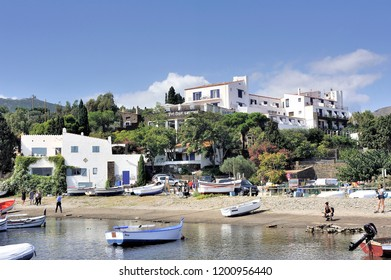 CADAQUES, SPAIN - SEPTEMBER 6, 2018: Panorama of the Cadaques Cove at the foot of Salvador Dali's house