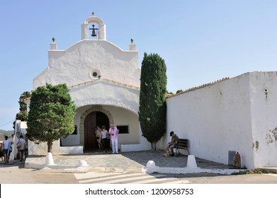 CADAQUES, SPAIN - SEPTEMBER 6, 2018: Small chapel of San Baldiri on the heights of Cadaques not far from the house of Salvadore Dali