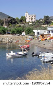 CADAQUES, SPAIN - SEPTEMBER 6, 2018: Panorama of the village of Cadaques in the Spanish region of Catalonia bordered by the Mediterranean Sea