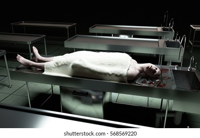 cadaver, dead male body in morgue on steel table. Corpse. Autopsy concept. 3d rendering.