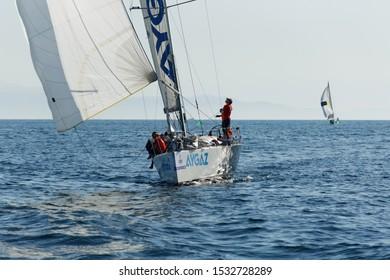 Caddebostan, Istanbul / Turkey - September 29 2019: Aygaz Sailing Team at 2nd Day of Turkcell Platinum Bosphorus Cup 2019 near Prince Islands.