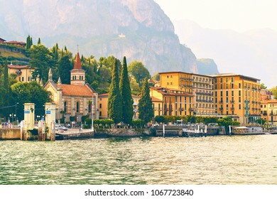 Cadenabbia di Griante, Italy: July 08 2017 - Beautiful view of a small Lombardy town on the shore of the lake Como with the Anglican Church of the Ascension