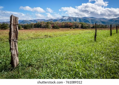 Cades Cove Landscape with Fence Row - Great Smoky Mountains National Park