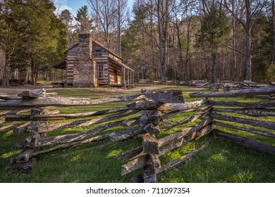 Cades Cove log cabin with morning sun