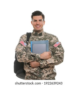 Cadet with backpack, tablet and notebooks isolated on white. Military education