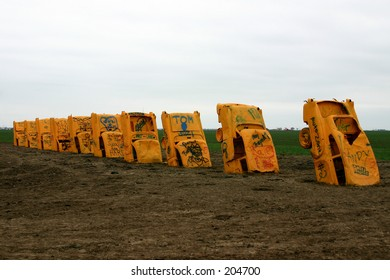 The Cadillac Ranch in Amarillo, TX on route 66.
