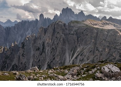 Cadin di Misurina mountain group with Cima Cadin di NE, Cima Cadin di San Lucano, Cima di Croda Liscia and Torre Sorapiss  as seen from Rifugio Lavaredo, Eastern Dolomites, South Tirol, Italy.