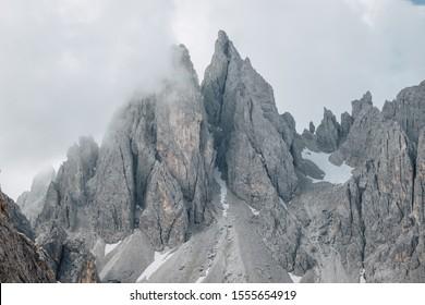 Cadini mountain group with Cima Cadin di NE, Cima Cadin di San Lucano, Cima di Croda Liscia, Sesto Dolomites, South Tirol, Italy