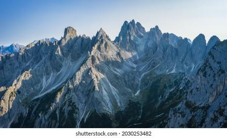 Cadini mountain group with Cima Cadin di NE, Cima Cadin di San Lucano, Cima di Croda Liscia and Torre Siorpaes as seen from Rifugio Lavaredo, Sesto Dolomites, South Tirol, Italy